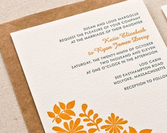 Botanical Wedding Invitation, Letterpress printed SAMPLE