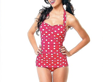 NEW Mitzy Vintage Inspired Maillot, One Piece Swimsuit, Red , White Dots