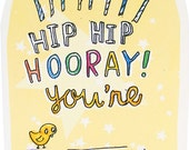 Happy Birthday Hooray Card - An Original Illustration, 100% recycled, Handmade in Manchester, England