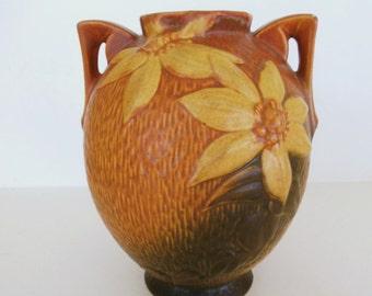 Vintage Roseville Pottery Vase Clematis Brown Green 107-8