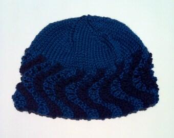 Wavy Brim Hat Knitting Pattern PDF Instant Download