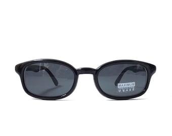 vintage 90's NOS square black plastic sunglasses dark grey gray lens mens womens fashion accessories accessory sun glasses retro modern slim
