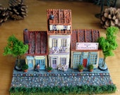 French Provence Street Scene - N Scale - Trio of Handcrafted Buildings with Cobblestone Street, Wine Shop, Cheese Shop and Apartment House