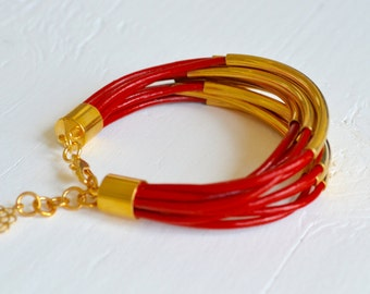CLEARANCE SALE : Red Leather Cuff Bracelet with Gold Tube Beads - Multi Strand Bangle Women's Bracelet  DISCONTINUED