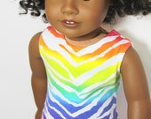 "Rainbow Zebra Tank Top for 18"" dolls such as American Girl"