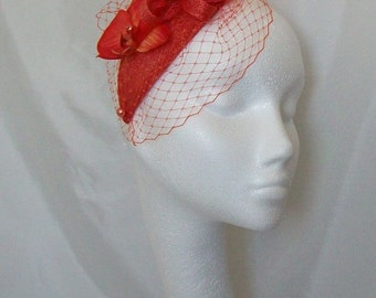 Burnt Orange Veil Sinamay Loop Orchid Flower & Pearl Teardrop 'Charlotte' Wedding Fascinator Mini Hat - Custom Made to Order