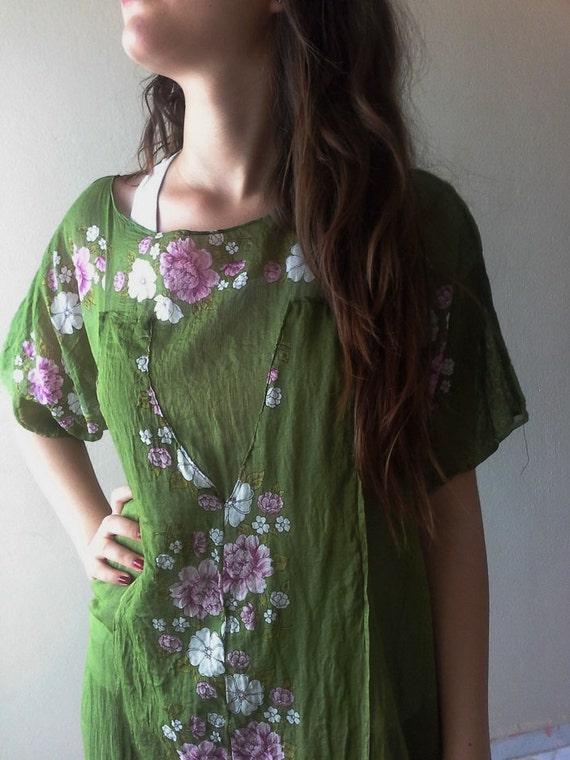 Cotton Summer Blouse, Turkish scarf Yemeni  Green Kaftan Tunic