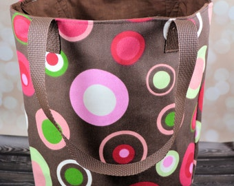Brown and Pink Canvas Tote Bag