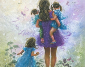 Mother and Three Girls Art Print, three sisters, three daughters, Mom, purple, blue, mother's day gift, brunette, wall art