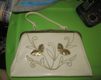 60s lovely white vinyl with gold florals handbag