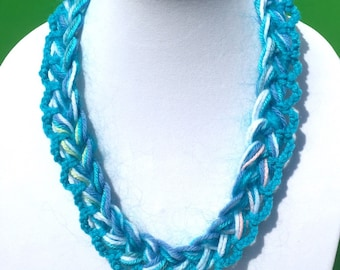 Single Chain Knit Necklace Handmade Red Blue Turquoise White Soft Fashion Trendy Crochet Multistrand Ready To Ship