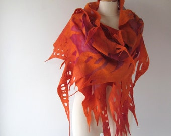 Nuno Felted scarf  Orange felt scarf  Nuno felted stole  Red Fire  shawl, Silk Wool shawl  felted shawl by Galafilc