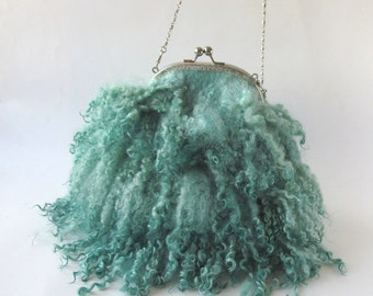 Felted purse Small mint purse Curly handbag Small  purse crossbody bag Mint Fringes bag Real Fur handbag  fringe felt fur, curly wool locks