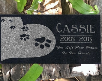 Personalized Pet Grave Marker Heart Paws Headstone Memorial Stone Garden Plaque Custom Engraved for you Dog or Cat Grave Markers in Granite