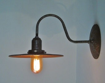 Industrial Lighting Rustic Wall Sconce Light Edison Lamp - Rusted Metal Farmhouse Gas Station Warehouse Shade Gooseneck Lamp - Unique Light