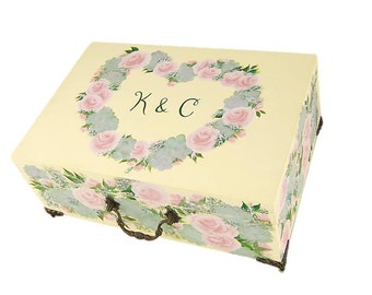 Hand Painted Wedding Card Keepsake Box - Blush Pink Roses, Succulents, Wildflowers - Custom Personalized Wedding Gift Card Box
