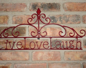 Cast Iron / Wall Decor / Shabby / Chic / Live Love Laugh / Fleur De Lis / Metal Wall Decor
