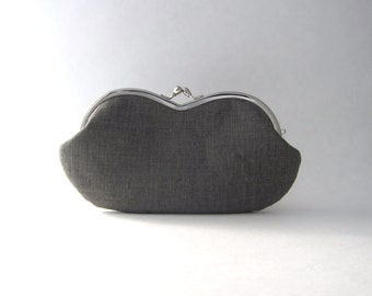 Sunglass case / Eyeglass Case - Frame Clutch Purse -Gray Linen