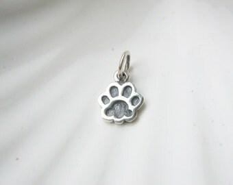 Sterling Silver Tiny Paw Print Charm - Add On - Pawprint - Dog Cat