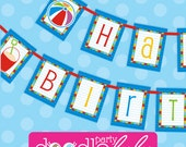 Pool Party Banner AND Pool Party Birthday Banner - Kids Pool Party Pennant Banners - Pool Party Decorations - PRiNTABLE, INSTANT DOWNLOAD