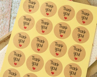 Kraft Paper THANK YOU with HEART printed round sticker labels