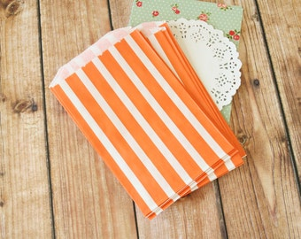 ORANGE Vertical Stripe Middy Bitty Paper Bags