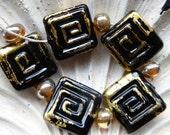 Reserved for Karen Destash Lampwork Beads BLACK GOLD square 6 beads 20mm maze beads