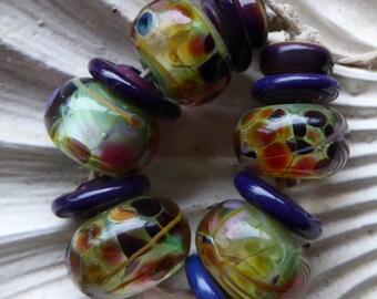 "Destash set Lampwork glass bead set handmade by Lori Lochner ""Purple and chartreuse garden set"""