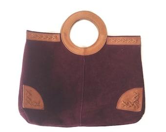 Vintage Suede Tote bag, Burgundy Leather, Camel Leather Trim , HIppie Boho 1970s, Market bag