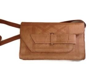 Leather bag, Envelope purse, handmade NAtural leather, tooled bag, 1970's