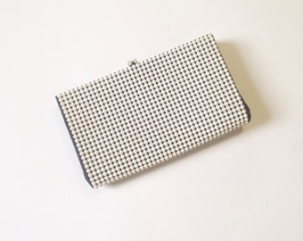 vintage white clutch, Beaded Metal Box envelope purse, 1940s 1950s