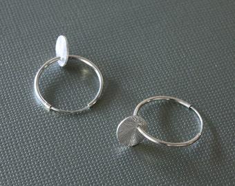 Silver Dot Hoop Earrings - Simple Earrings - Dot Earrings - Everyday Earrings - Hoop Earrings - Celebrity Inspired - Disc Earrings