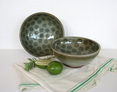 Pair of sturdy stoneware bowls. Polka dots, rustic, stacking, muted teal, celadon, mossy brown, mixing, serving, soup, salad