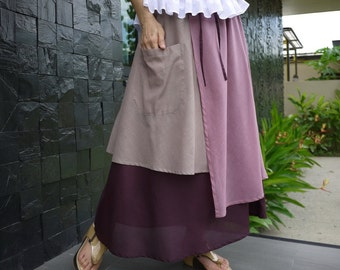 3 Tone Skirt...Triple Layer Dusty Taupe Brown/ Pale Plum/ Plum Light Cotton Lawn Skirt With 1 Patched Pocket - Size 10 To Size 18