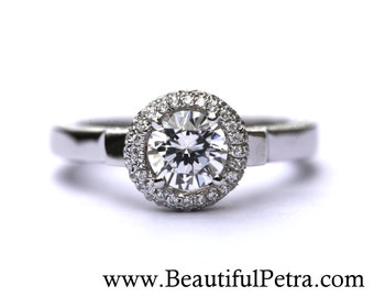 14k White gold - Diamond Engagement Ring - Halo - Unique - Pave - Bph022