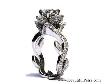 blooming work of art platinum milgrain flower rose lotus diamond engagement ring beauty semimount setting fl07 patented design - Flower Wedding Rings