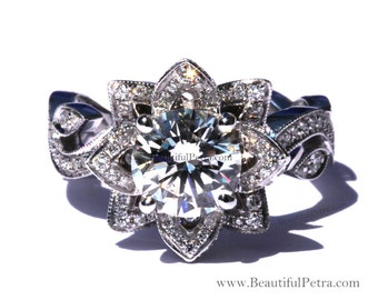 BLOOMING Work Of Art - Milgrain Flower Rose Lotus Diamond Engagement Ring Setting with leaves on the band - fl07 Patented design