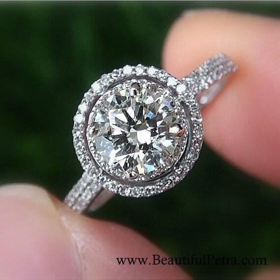 1.00 carat Round - Double Halo - Pave - Antique Style - Diamond Engagement Ring 14K white gold - Weddings - Bp019
