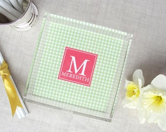 Monogram Lucite Tray | Gingham Check Pattern | Personalized Colors | Acrylic Desktop Organizer