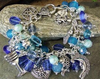 Charm Bracelet -  Water Elemental Pagan - Undines - Mermaid - Wicca Gypsy New Age Metaphysical Goddess jewelry - pagan jewelry