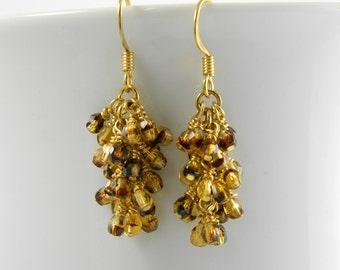 Topaz Tortoise Shell Fire Polished Cascade Earrings with Gold Surgical Steel Earrings, Gold Tortoise Shell Dangle Earrings