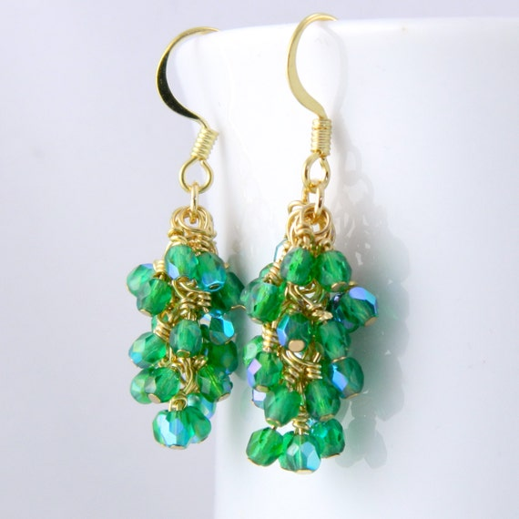 Emerald Green Cascading Dangle Earrings in Gold with Surgical Steel Ear Wires