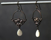 Filigree earrings antique stamping fancy mother of pearl drop vintage parts boho chic