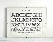 Framed Alphabet Print, Vintage Alphabet Art, 1920s Print, Wall Decor
