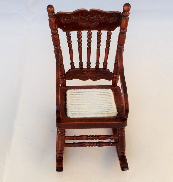 Vintage Miniature Wooden Rocking Chair ~ 1:12 Scale ~ Hand Made ...