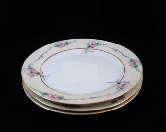 Antique Noritake Nippon Salad Plates (4) Pink Flowers Gold Circa 1911