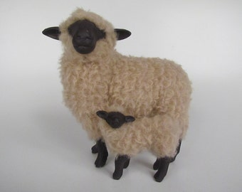 Porcelain Woolly Sheep Figure, English Oxford Sheep Turned With Lamb