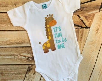 It's Fun to Be One first birthday giraffe bodysuit toddler shirt ANY SIZE infant baby gear