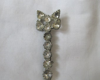 Unusual vintage rhinestone and pot metal brooch pin