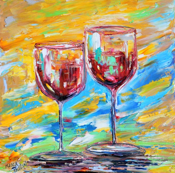 Original Oil Painting Red Wine For Two Abstract Palette Knife